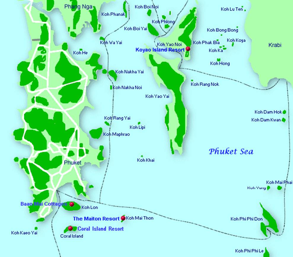 The Phi Phi Beach Resort Map: Maps Of Phuket Town, Patong And All Towns