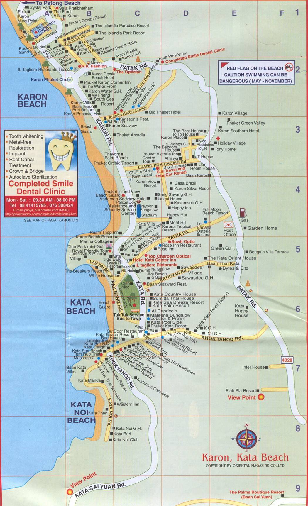 Map Of Patong Beach Showing Hotels